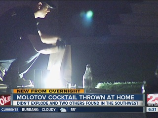 Molotov cocktail thrown at Southwest home