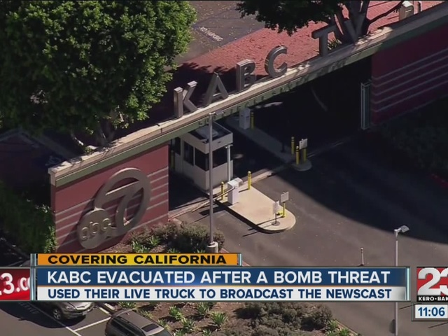 kabc tv airs from building s lawn after threat