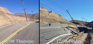 Roadway in Santa Clarita all broken up