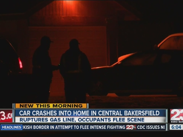 Car crashes into home, ruptures gas line in Central Bakersfield