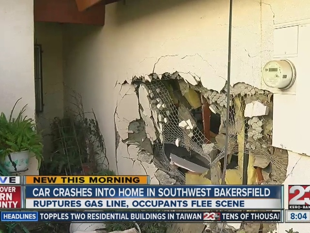 Car crashes into home, ruptures gas line in SW Bakersfield