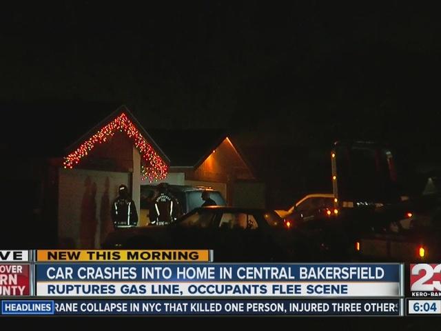 Car crashes into home, ruptures gas line