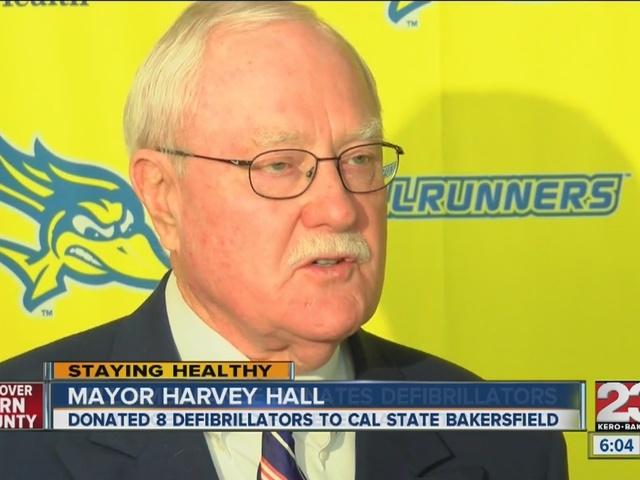 Mayor Hall donates defibrillators to CSUB