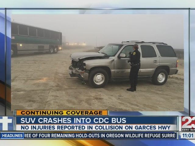 SUV crashes into CDC bus