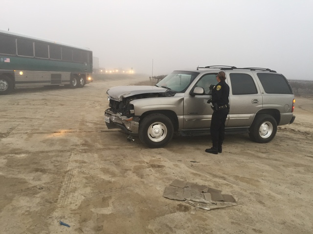 Corrections bus collides with SUV on Garces Hwy.