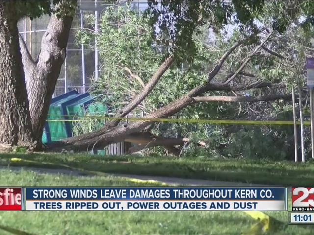Strong winds leave damages throughout Kern County