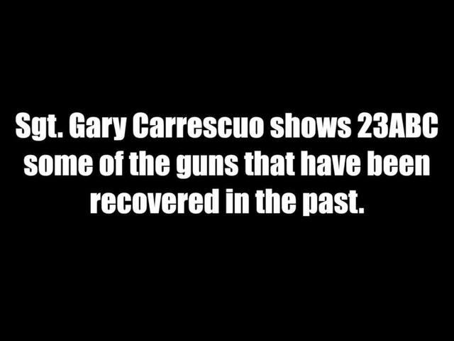Sgt. Carruesco shows 23ABC some of the guns BPD has seized