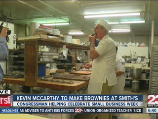 Kevin McCarthy bakes brownies at Smith's