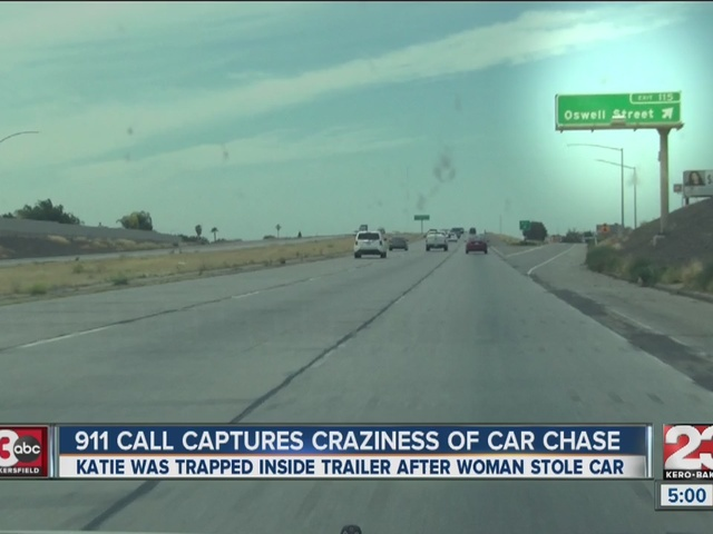 A woman's car is stolen while she was in the trailer