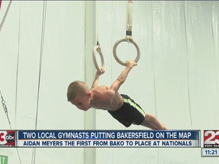 Two local gymnasts placing well above their age