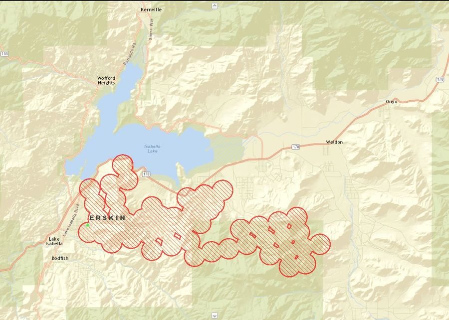 Lake Isabella Fire Map.Erskine Fire Destroys Upwards Of 100 Homes In Lake Isabella Burns