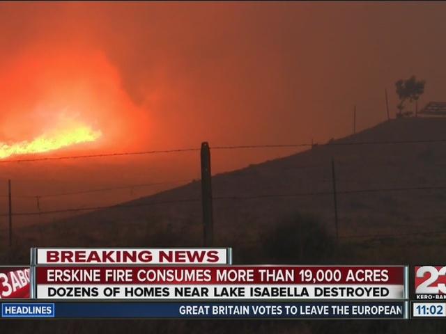 Erskine Fire destroys upwards of 100 homes in Lake Isabella, burns 19k acres