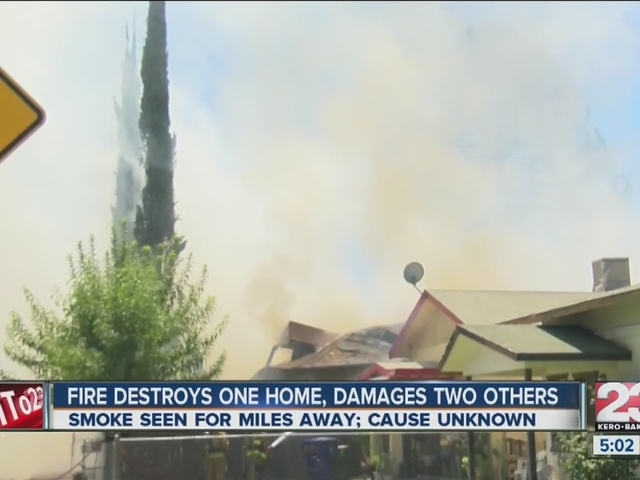 Fire destroys one home, damages two others