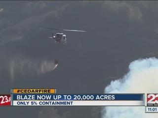 Cedar fire grows to 20,148 acres