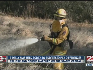 Cal Fire leaders rally over pay difference