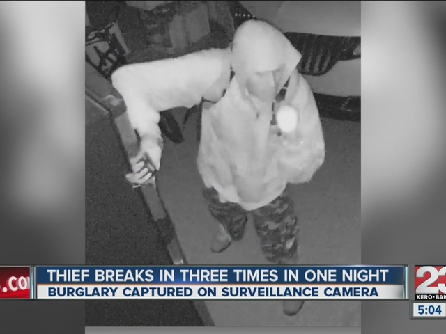 Thief breaks in three times in one night