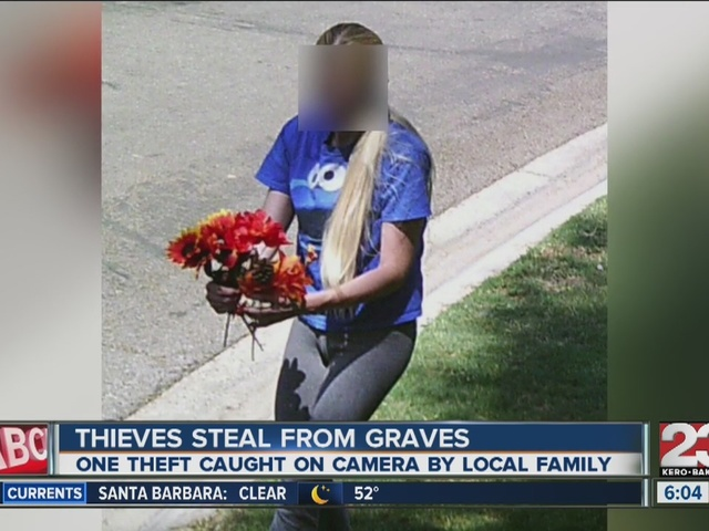 Bakersfield woman says someone is stealing from her son's grave