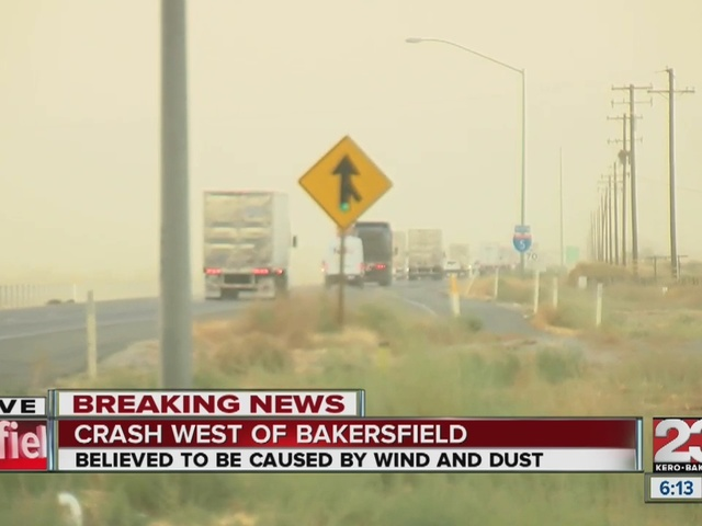 Dust storm causes accidents in Bakersfield