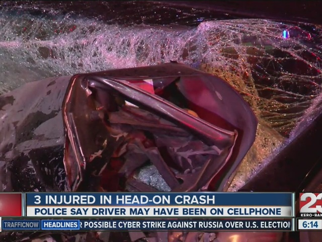 3 injured in head-on crash