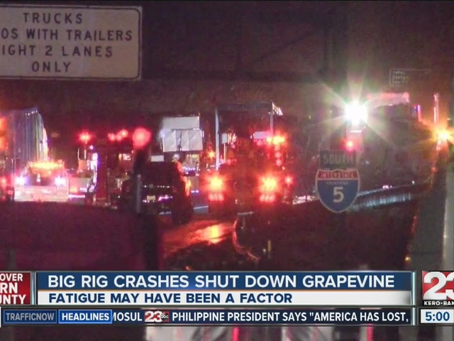 Big rig crashes shut down grapevine