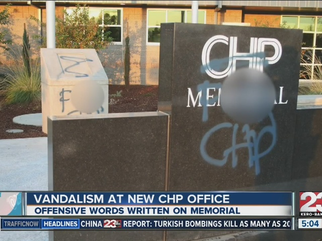 CHP fallen memorial, new building vandalized