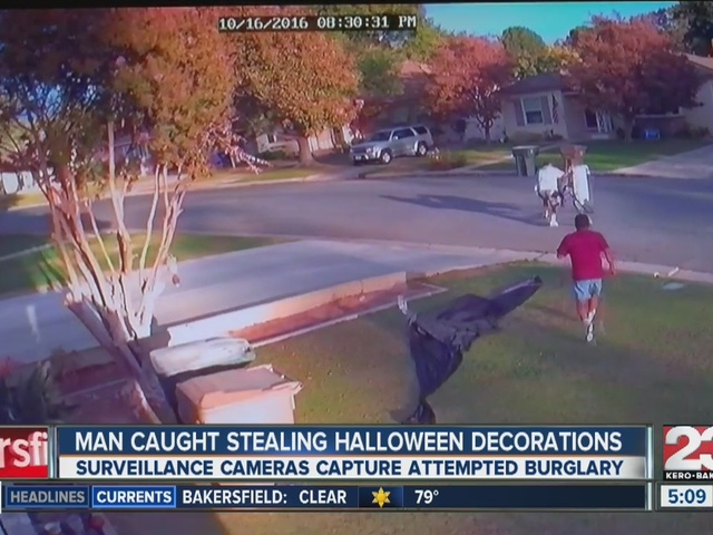 Halloween decoration thief caught on camera