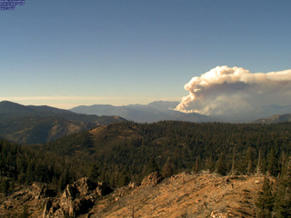 Wildfire burns near the Sequoia National Forest