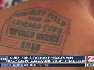 Cubs fan's tattoo predicts World Series win