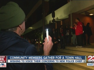 Community members gather for a town hall