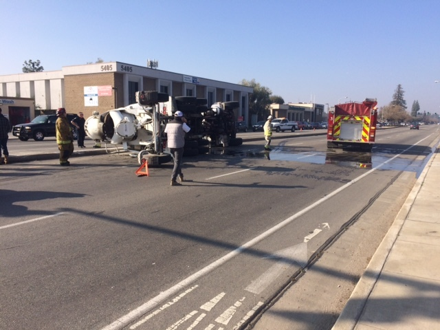 Cement Truck Driver Injured When Truck Overturned On