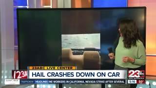 Huge hail breaks windshield