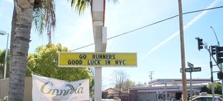 Sign put up in support of CSUB Runners