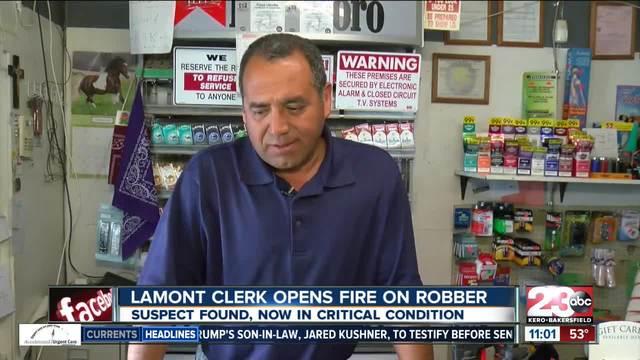 Lamont clerk opens fire on robber