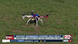 A drone violates privacy hovering over homes