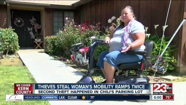 Thieve-s steal Bakersfield woman-s mobility ramps twice