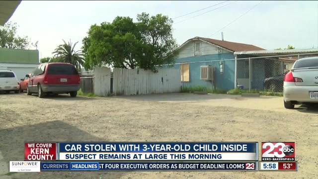 Suspect steals car with child inside