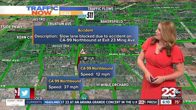 Crash on CA-99 Northbound at Exit 23 Ming Avenue