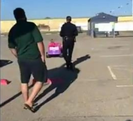 Little girl escapes from police in a pink jeep