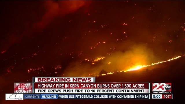Highway Fire in Kern Canyon burns over 1-500 acres