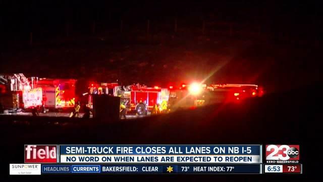Semi-truck fire closes all lanes on NB I-5