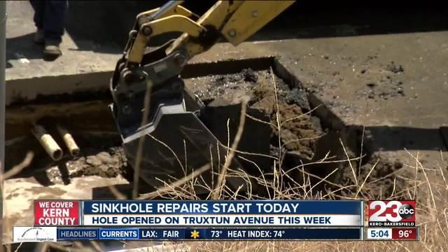 City crew repair sinkhole on Truxtun Avenue