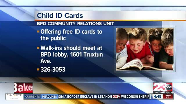 Free Child I-D- Cards in Bakersfield