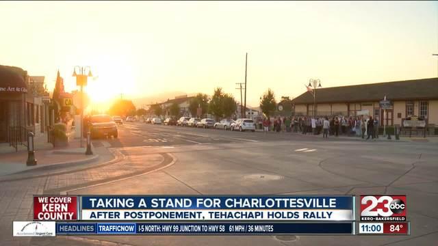 Tehachapi rally standing for Charlottesville