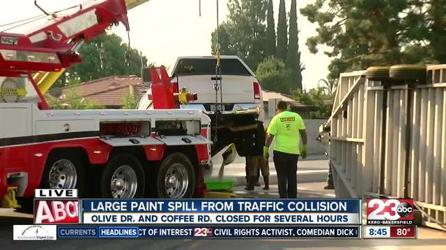 Paint spill and crash blocks lanes of traffic in northwest Bakersfield