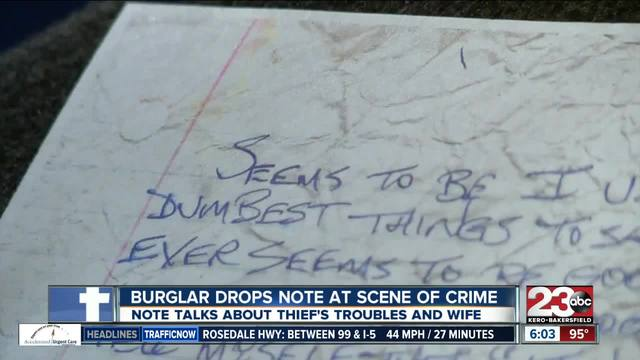 Thief leaves behind note after burglary