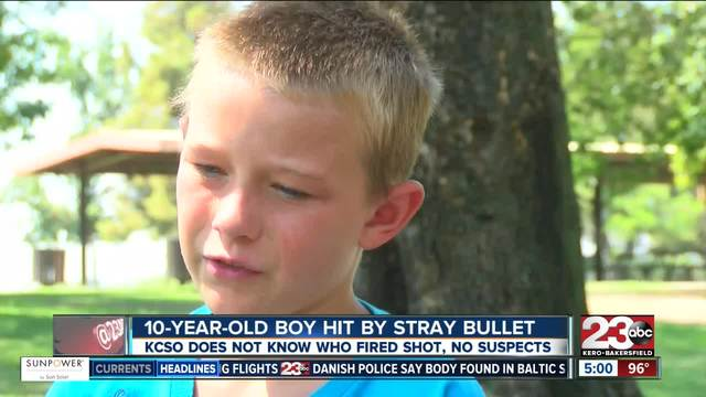 10-year-old boy hit by stray bullet