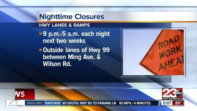 Nighttime road closures scheduled for the next two weeks