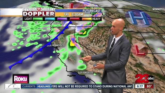 A cold front brings chances for rain and a big cool down-
