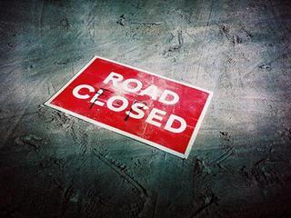 Shoulder closed for rail construction
