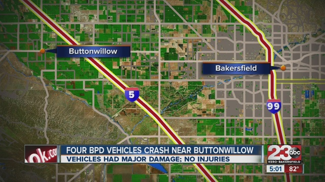 Bakersfield Police Department Officer Crashes Into Other